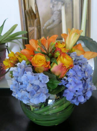 Orange and Blue Bowl of Blooms Perfect Table Top Gift!