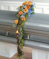 Orange and Blue Casket Funeral
