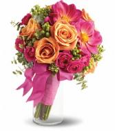Orange and Fuchsia Bridesmaid Bouquet