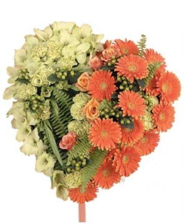 Orange and Green Heart Funeral