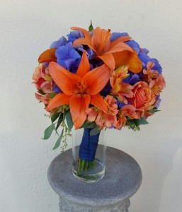 Orange and Navy Bridal Bouquet Hand-Tied Bridal Bouquet