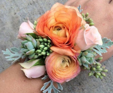 ORANGE AND PINK CORSAGE ELEGANT MIXTURE OF FLOWERS