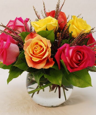 ORANGE AND PINK CORSAGE ELEGANT MIXTURE OF FLOWERS