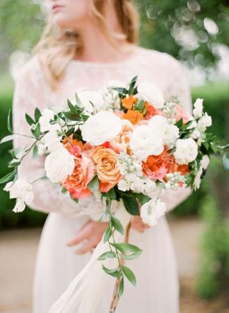 ORANGE AND WHITE Hand tied bride bouquet