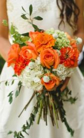 Orange and White Handheld Bouquet Bridal Bouquet