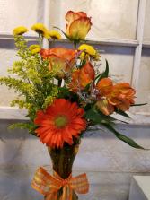 Orange and yellow mixed vase arrangement #2