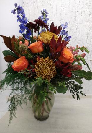 Orange Crush Fall Vase Arrangement