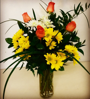 Orange Crush Orange and Yellow Vase Floral in Plainview, TX | Kan Del's Floral, Candles & Gifts