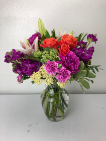 Orange Crush Roses and Magenta Stock  Vase Mix