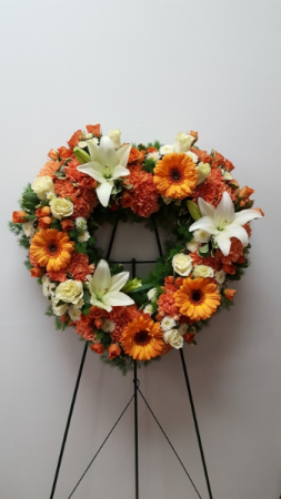 Orange Crush Standing Spray Wreath