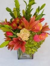 Watercrest Orange Crush  Vase