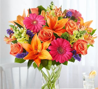 ORANGE CRUSH W/SPLASH OF PINK VASE
