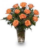 Orange Desire Rose Vase