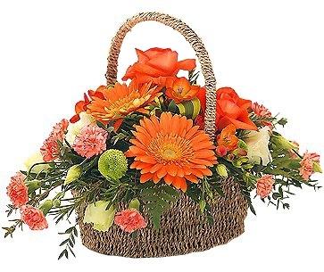 ORANGE FLOWER BASKET BASKET