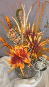 Orange Flower Pot silk