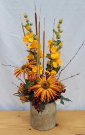Orange Hollyhocks and Mums Silk Arrangement
