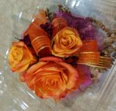 Orange & Hot Pink Rose Corsage
