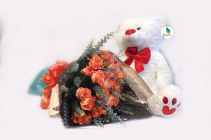 Orange love  Wrap rose with Teddy Bear