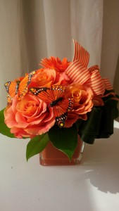 Orange Monarch Vase Arrangement