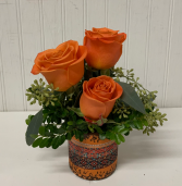 Orange Rose Trio in Mosaic