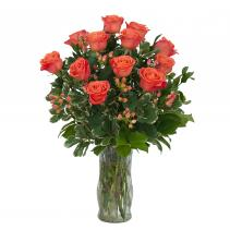 Orange Roses and Berries Vase Floral Arrangement