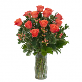 Orange Roses and Berries Vase Arrangement in Saugerties, New York | THE FLOWER GARDEN