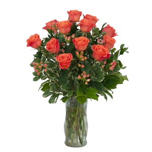 Orange Roses and Berries Vase Arrangement in Naugatuck, CT | TERRI'S FLOWER SHOP