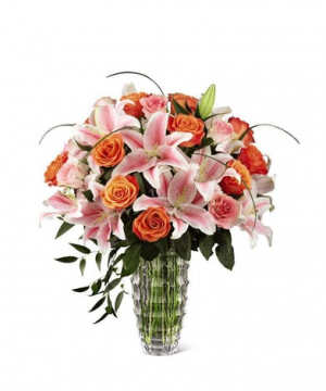 Orange Roses And Stargazer Lilies In Crystal Flower Arrangement in Tulsa, OK | THE WILD ORCHID FLORIST