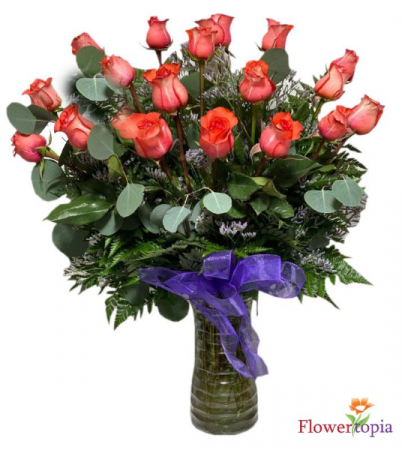 Coral Dreams Orange Roses Arrangement