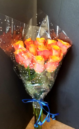 Orange Roses Dozen Wrapped