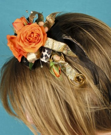 ORANGE ROSES Prom Hairpiece