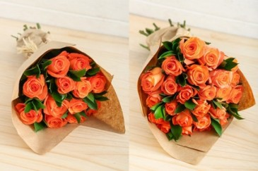 Orange Roses in Kraft Paper Wrapped Roses, Natural