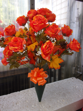 ORANGE ROSES WITH FALL LEAVES $29.99 FALL FLOWERS