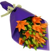 ORANGE TIGER LILIES GIFT WRAP BOUQUET