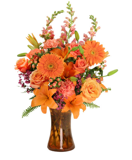orange unique floral arrangement in elkton md fair hill florist