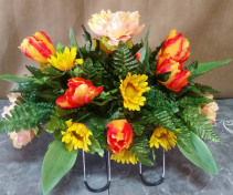 orange & yellow tulip  monument saddle