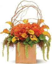 ORANGEMENT SPLENDOR ROSAS &CALLA LILY ARRANGEMENT