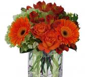 Oranges & greens fall Fall cube vase