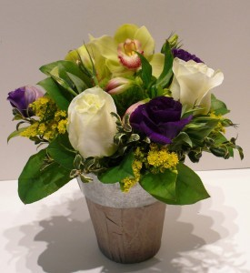 Orchid and Rose Posy Small container arrangement
