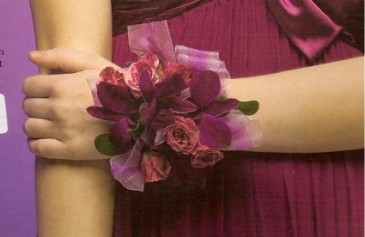 Orchid and Rose  Wristlet Corsage (available in white and blue also)