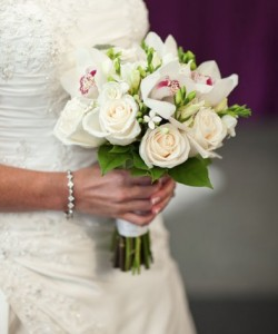 Orchid, Freesia, Roses, Hand wrap Hand Gathered Bouquet