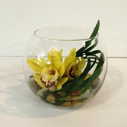 Orchid on glass Vase arrangement