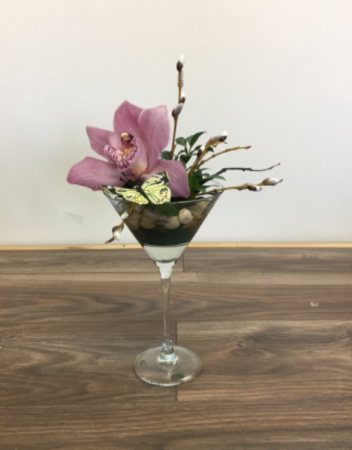 Orchid on the rocks Dish arrangement