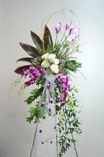 Orchid  & Rose Elegance Standing Spray