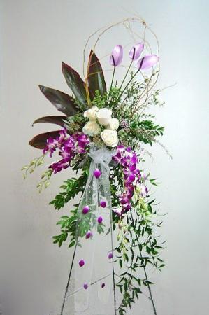 Orchid  & Rose Elegance Standing Spray