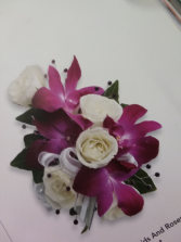 orchid, rose wrist corsage