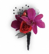 Orchid, roses, ribbon wrap & rhinestone Bouttonniere
