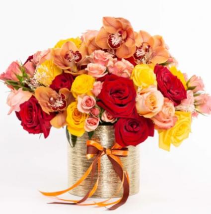 Orchid Sunset Vase Arrangement
