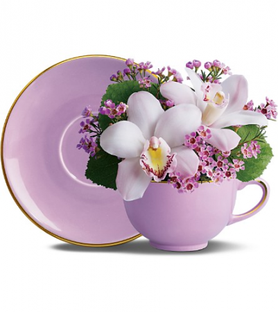 Orchid Teacup Bq  One-Sided Floral Arrangement