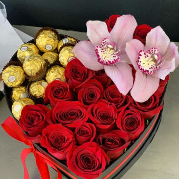 Orchid Vibes  Box of Roses, orchid and chocolates